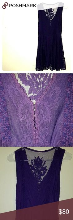 """Free people purple lace dress Detailed lace dress. Front is a v-neck w/ 3 small clasps to the waist. Follows a drapy A line & rests just above the knee. Back has a large lace panel. Neckline scalloped. Gorgeous jewel purple.  Dress: W- 25"""" (up to 26-27 with stretch) L ~33"""" Shoulder 2 w~15.5-16.5"""" Wore once only for a friend's wedding but due to health issues, I've lost weight & no longer fit it. So sad to sell. My measurements: 5'3"""" 28A Waist: in photo 25"""" (now 22.5) In seam: 31"""" Free People…"""