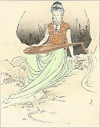 Japanese Mythology:  Benten - The Goddess of luck, love, eloquence, wisdom and the fine arts. Benten is the patron of the geishas and the art folks. She is shown with eight arms riding on a dragon.