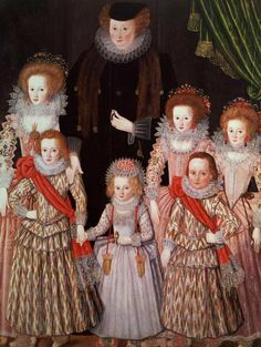 1605 English School - The Tasburgh Group (Lettice Cressy Lady Tasburgh of Bodney, Norfolk and Her Children) Tudor History, British History, Art History, Historical Costume, Historical Clothing, Mode Renaissance, Marie Stuart, Elisabeth I, Elizabethan Fashion