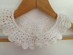 Wedding white crochet collar with beads peter pan by NesrinArt, $30.00