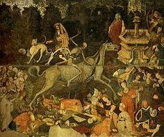 """Trionfo della Morte è un affresco staccato (600x642 cm) conservato nella Galleria regionale di Palazzo Abatellis a Palermo. l'opera più rappresentativa della stagione """"internazionale"""" in Sicilia,"""
