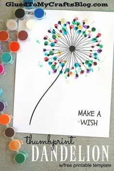 Thumbprint Dandelion - Kid Craft - this idea would be a great gift for a teacher., Diy And Crafts, Thumbprint Dandelion - Kid Craft - this idea would be a great gift for a teacher or a DIY project for grandparents! Crafts To Do, Painting Crafts For Kids, Easy Kids Crafts, At Home Crafts For Kids, Older Kids Crafts, Art And Craft, Painting Activities, Mothers Day Crafts For Kids, Family Crafts