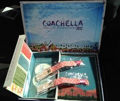 Ticket passes (wristbands), Car Camping Pass, Welcome Guide, 2012-2013 Calendar/Poster, Coachella Decal and a Coachella diorama.
