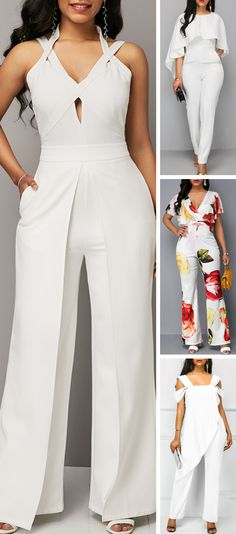 We offer to consider wedding jumpsuits, which are so original. These white jumpsuits are ceremonial and feminine. Here are some modern designs to impress you! One of the best sites to visit for travel Casual Outfits, Cute Outfits, Wedding Jumpsuit, White Jumpsuit, African Dress, Jumpsuits For Women, African Fashion, Beautiful Outfits, Designer Dresses