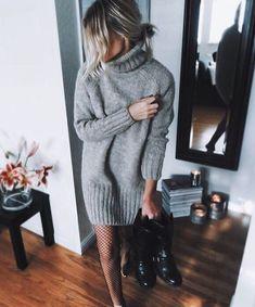 Sweater dress // grey // cozy
