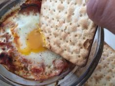 Ratatouille & baked eggs with spelt crackers for dipping! Healthy eating at it's best!