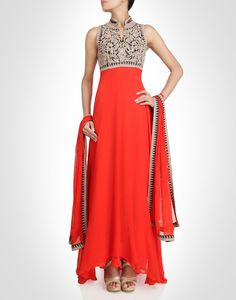 Orange anarkali with a flowy silhouette. Shop Now: www.kimaya.in