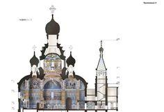 Собор во имя святой Великомученицы Екатерины. Вид планируемого к постройке здания в разрезе. Фото: пресс-служба администрации Екатеринбурга