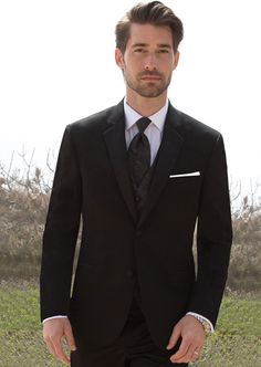 #SavviFormalwear Black Desire by Michael Kors - Luxury wool, 2 button, Black, Shown with matching Vest and windsor tie.