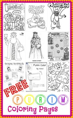 10 Free Purim Coloring Pages. A great way to teach your kids about the holiday -- and get them in the mood to celebrate! #Jewish holidays