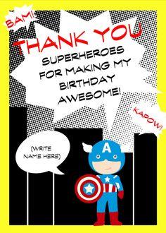 CHOOSE YOUR SUPERHERO Printable superhero birthday party thank you card, yellow, black, The Petunia Tree by ThePetuniaTree on Etsy