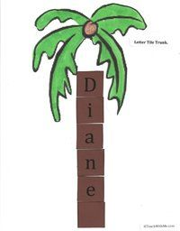 Students cut and glue letter tiles to make the trunk of their name tree. FREE download. To make this even more special, add a student photo inside the coconut.