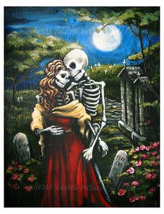 Valentine Skeleton Romance Day of the Dead Art Print La Catrina Couple Rockabilly Gothic love art Dia de los Muertos Love by Bones Nelson (affiliate) Skeleton Love, Skeleton Art, Arte Fashion, Sugar Skull Art, Sugar Skulls, Day Of The Dead Art, Creepy, Chicano Art, Illustration
