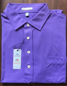 NEW Men's Peter Millar Summer Comfort E4 Solid Purple Polo Golf Shirt Size L  | eBay