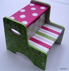 Hand painted Step Stool Pink and Lime green by SassyfrasDesignz Funky Painted Furniture, Paint Furniture, Kids Furniture, Painting For Kids, Painting On Wood, Hand Painted Stools, Step By Step Painting, Home And Deco, Decoration