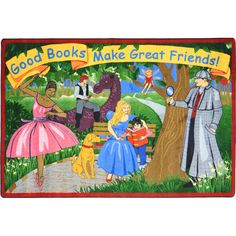 "Good Books Make Great Friends Rug - Rectangle - 5' 4""W x 7' 8""L"