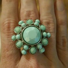 Fashion ring Sorry, ladies, my closet is temporarily closed until I'm done moving. Stay tuned!   Mint green with silvertone stretch band. Jewelry Rings