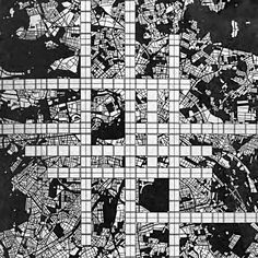 Two speculated forms of accelerated urbanism in O. Ungers' studio prompt 'Berlin A Planning-Mode for a Five-Million City in Transition from the where students designed complexity into how these logics meet the city Skyscraper, Berlin, Quilts, How To Plan, Architecture, City, Prompt, 1970s, Maps