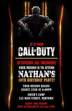 Call of duty black ops 3 party invitations need party invitations call of duty black ops birthday invitation filmwisefo Image collections