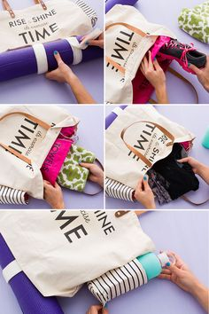 This DIY gym bag has specific compartments for all of your workout essentials.