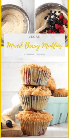 Wake up to these delicious Mixed Berry Muffins. Topped with a buttery crumb topping and baked to perfection, these sweet morning pastries are bursting with flavor. Eggless Desserts, Vegan Dessert Recipes, Vegan Breakfast Recipes, Baking Recipes, Bread Recipes, Vegan Muffins, Healthy Muffins, Eggless Muffins, Mixed Berry Muffins