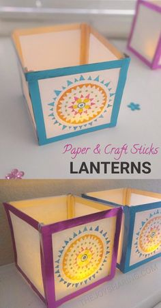 PAPER LANTERN CRAFT #crafts #kidscrafts #diwalicrafts #christmascrafts #diwalidecor #christmasdecor #DIY #homedecor #lights #lantern #lamp #luminaries