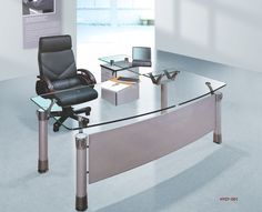 Spacious Office Furniture Design With Modern Desk Equipped With Glass Tops On White Doff Flooring Plan: Work Comfort With Comfort. Modern Office Table, Modern Desk, Glass Top Desk, Unfinished Furniture, Desks For Small Spaces, Office Furniture Design, A Table, House Design, Glass Office