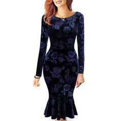 Elegant Round Collar Jacquard Long Sleeve Mermaid Dress For Women