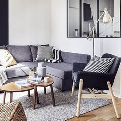 Save on space with furniture that can multitask. This FRIHETEN sofa-bed is perfect for a modern live-work apartment as it features storage underneath and extra room for people to stay over. Take a tour of the rest of Stéphanie and Patricia's modern apartment via the link in our bio.