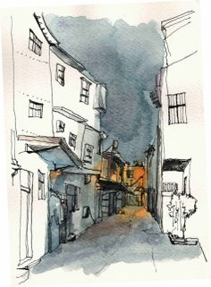 Yiwei Peng - line & wash travel sketching