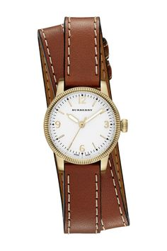 Brown and Gold Wraparound Burberry Women's Double Wrap Band Watch