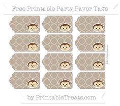 Coyote Brown Quatrefoil Pattern  Boy Monkey Party Favor Tags