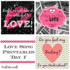 "Love songs free printables ""Day 1"" - craftyourself.com"