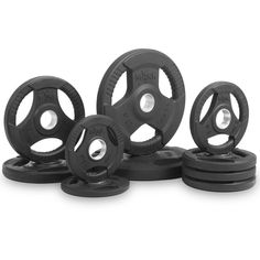 XMark Premium Quality Rubber Coated Tri-grip Olympic Plate Weights - 95 lb. Set-1 Each