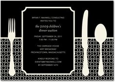 Dinner Setting - Corporate Event Invitations in Black or Midnight | DwellStudio