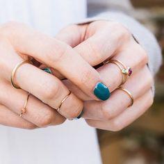 A handful of gold rings #neverenoughrings #ringspiration #stackingrings #skinnyrings #finejewellery #artisanmade #slowmade #nikkistarkjewellery