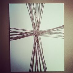 Twine Cross on Canvas