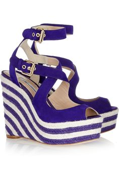 April suede espadrille wedge sandals by Brian Atwood