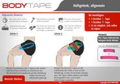 Hüfte Tapen Kinesiologie / Schritt für Schritt Anleitung ⚠️ Mehr unter: www.bodytape.net