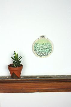 Green Ombre / Embroidery Art / Modern Embroidery / by RHvintage, $12.00