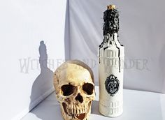 Halloween Witch Kitchen Potion Bottle Decoration Female Skull Cameo White w/ Black Wax drippings, Cork top, Twine neck Halloween Potion Bottles, Metal Skull, Kitchen Witch, Glass Bottles, Twine, Wax, Things To Sell, Female, Handmade