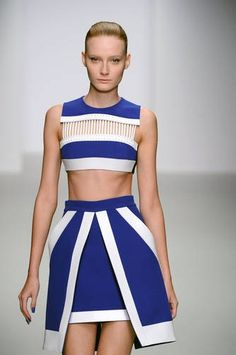 Sporty crop tops at celebrity favourite David Koma #LFW #Inspiredby