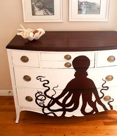 Reverse stencil on a sea creature | 99 Clever Ways To Transform A Boring Dresser