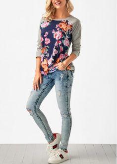 Round Neck Flower Print Long Sleeve Grey T Shirt