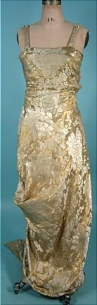 """c. 1913 Edwardian Platinum and Gold Lame Brocade Trained """"Hobble"""" Gown!"""