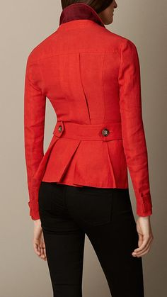 Burberry Orange Red Linen Field Jacket - A linen field jacket detailed with box-pleat pockets.  Set-in sleeves and pleats at the back create a structured, feminine silhouette.   Discover the women's outerwear collection at Burberry.com
