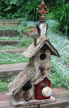 Vintage birdhouse makes the perfect nest site and roost. For rustic decor indoors or in the garden