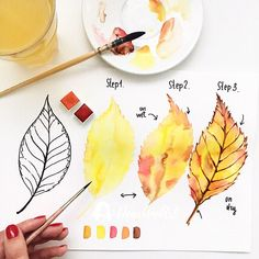 ▷ beautiful drawing ideas with detailed instructions ▷ 1000 + schöne Zeichnen Ideen mit detaillierten Anleitungen How to draw an autumn leaf, instructions in three steps for beginners, beautiful pictures to paint Watercolor Paintings For Beginners, Easy Watercolor, Watercolour Tutorials, Watercolor Drawing, Watercolor Techniques, Watercolor Cards, Watercolor Flowers, Gouache Painting, Drawing Techniques