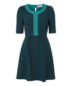 Love this Green Contrast Placket Heloise Three-Quarter Sleeve Dress by Louche on #zulily! #zulilyfinds