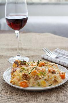 lasagne con zucca, gorgonzola, porro e noci